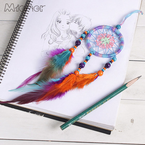 Ayanna : petit attrape rêves multicolore perles et plumes