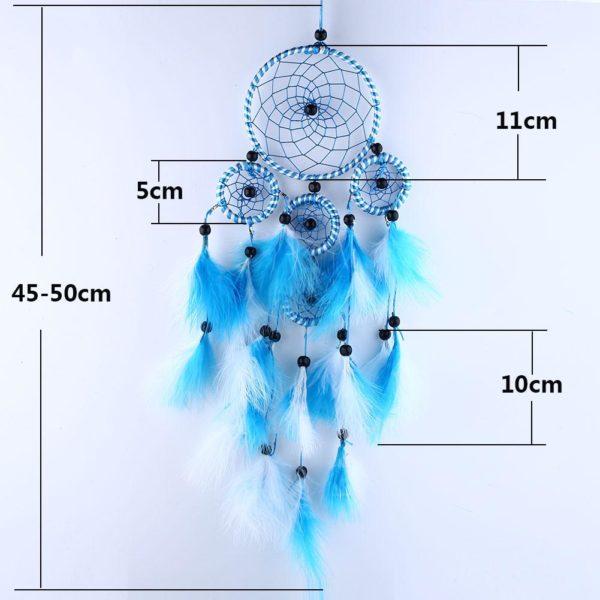 Doli : grand attrape-rêves aux plumes bleues