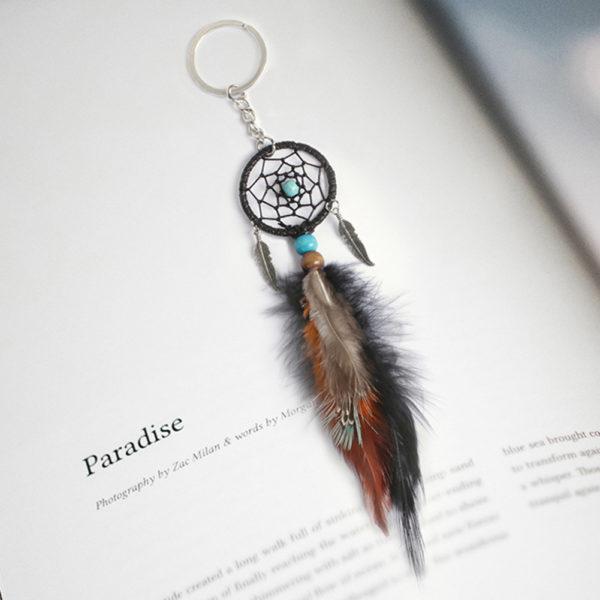 Porte clés attrape rêve en plume