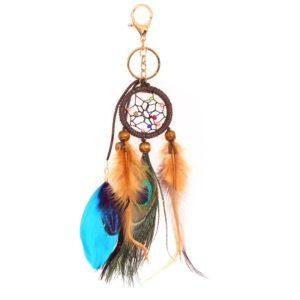 Porte clés attrape rêves avec plume de paon